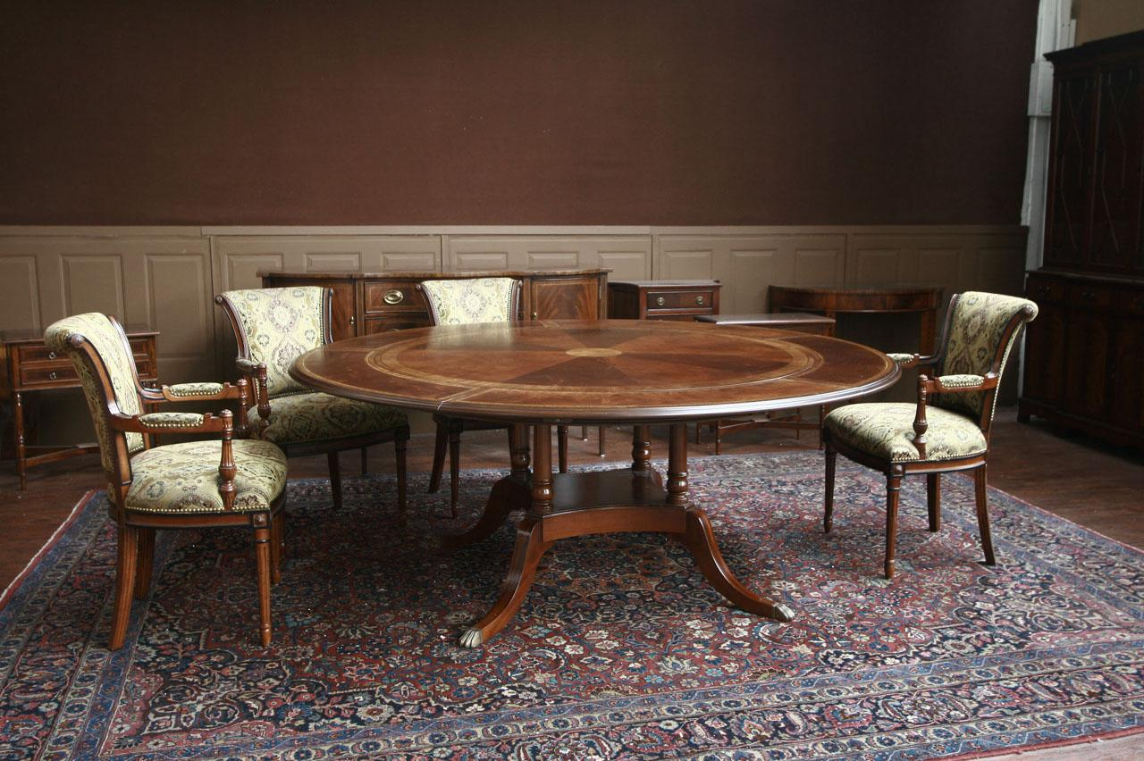 Round mahogany dining table w perimeter leaves ebay for Circle dining room table with leaf