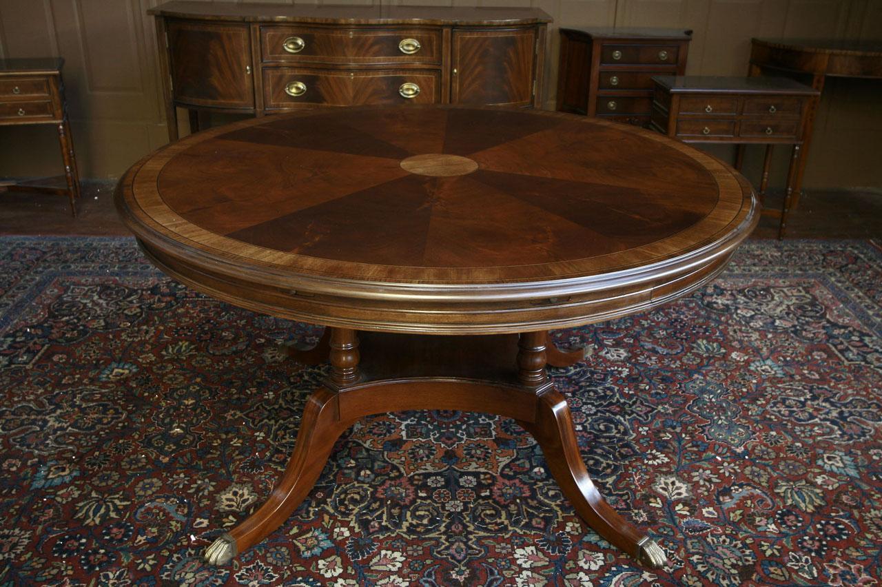 Round Mahogany Dining Table W Perimeter Leaves EBay