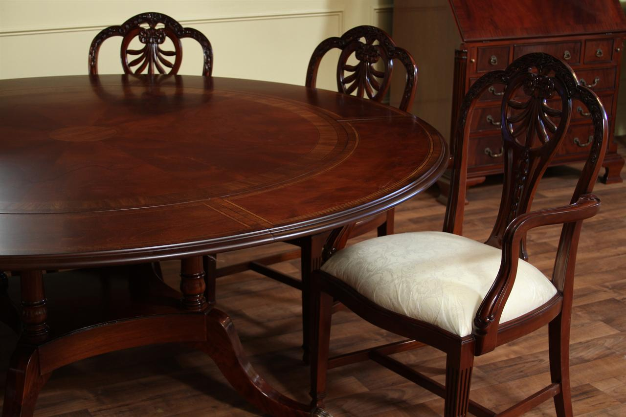 Dining room furniture high end furniture formal dining - Round dining room tables with leaves ...