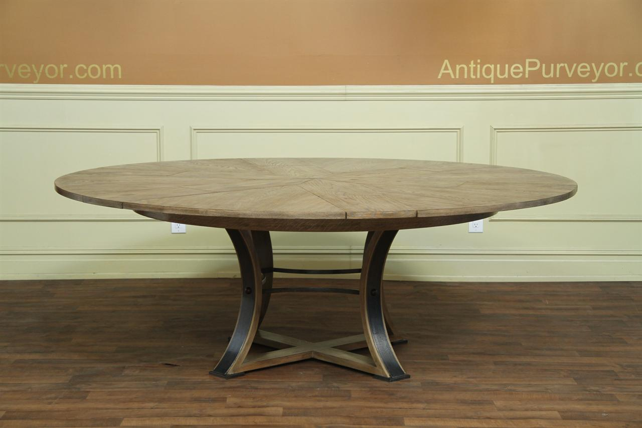 Rustic Or Transitional Round To Expandable Dining Table With Hidden Leaves