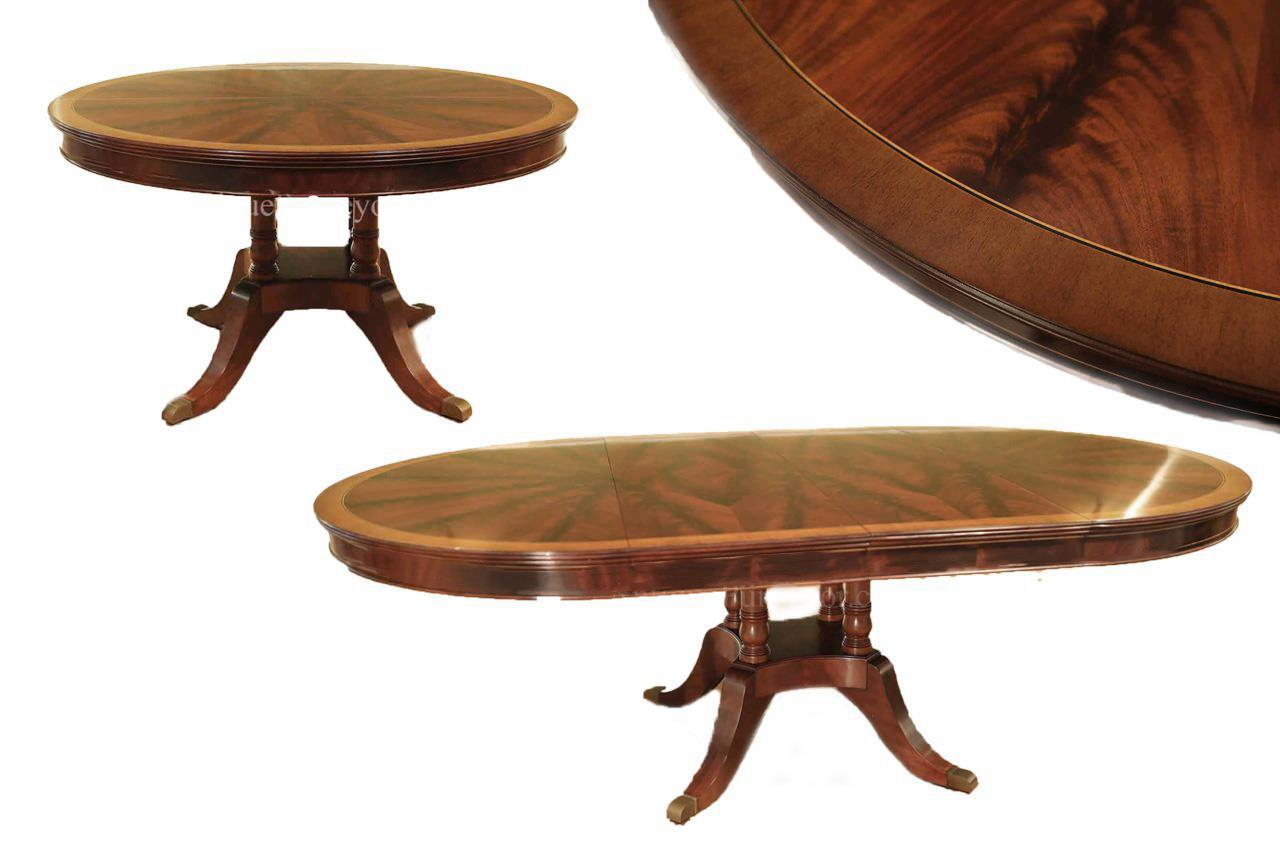 Round Expandable Dining Table with 9 Leaves, Seats 9 to 9 People