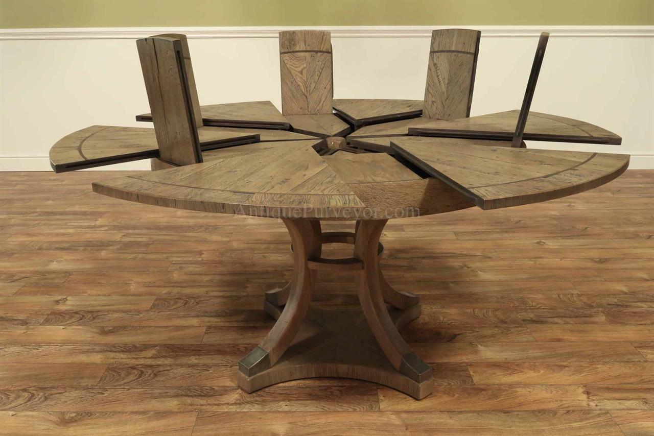 Expandable Round Jupe Style Dining Table With Rustic Finish