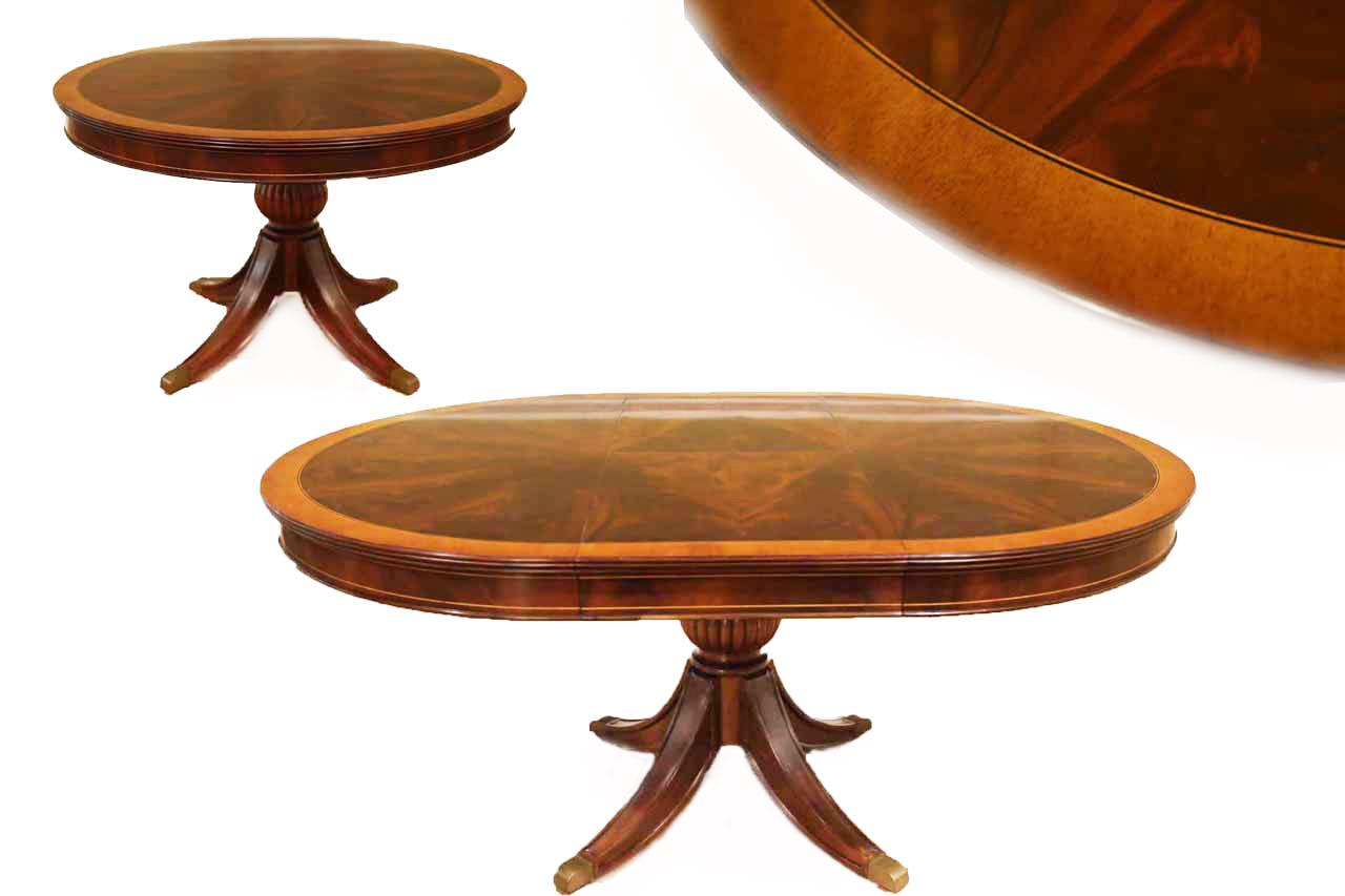 Small 48 Inch Round Mahogany Dining Table With Self Storing Leaf