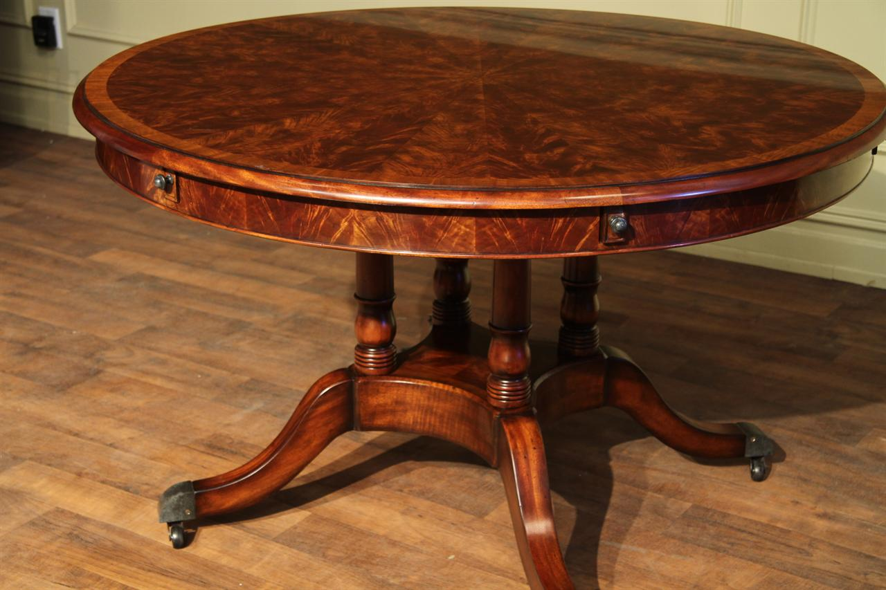 Round Expandable Formal Mahogany Dining Table with Leaves  : round mahogany dining table that opens to 74 inches 14521 from www.ebay.com.au size 1280 x 853 jpeg 114kB