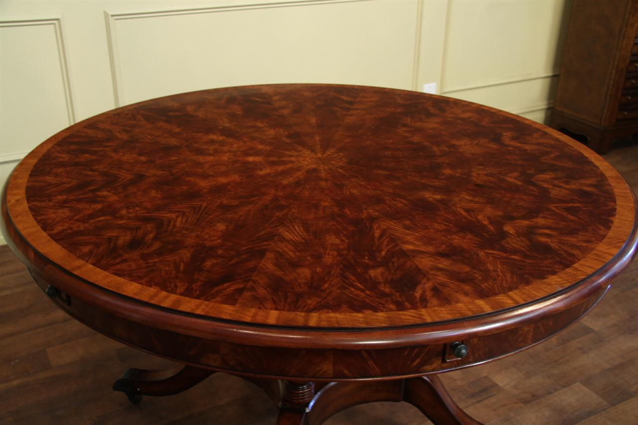 Round Expandable Formal Mahogany Dining Table with Leaves  : round mahogany dining table that opens to 74 inches 14526 from www.ebay.com size 1280 x 853 jpeg 94kB