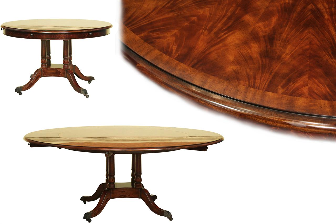 Round expandable formal mahogany dining table with leaves for High dining table