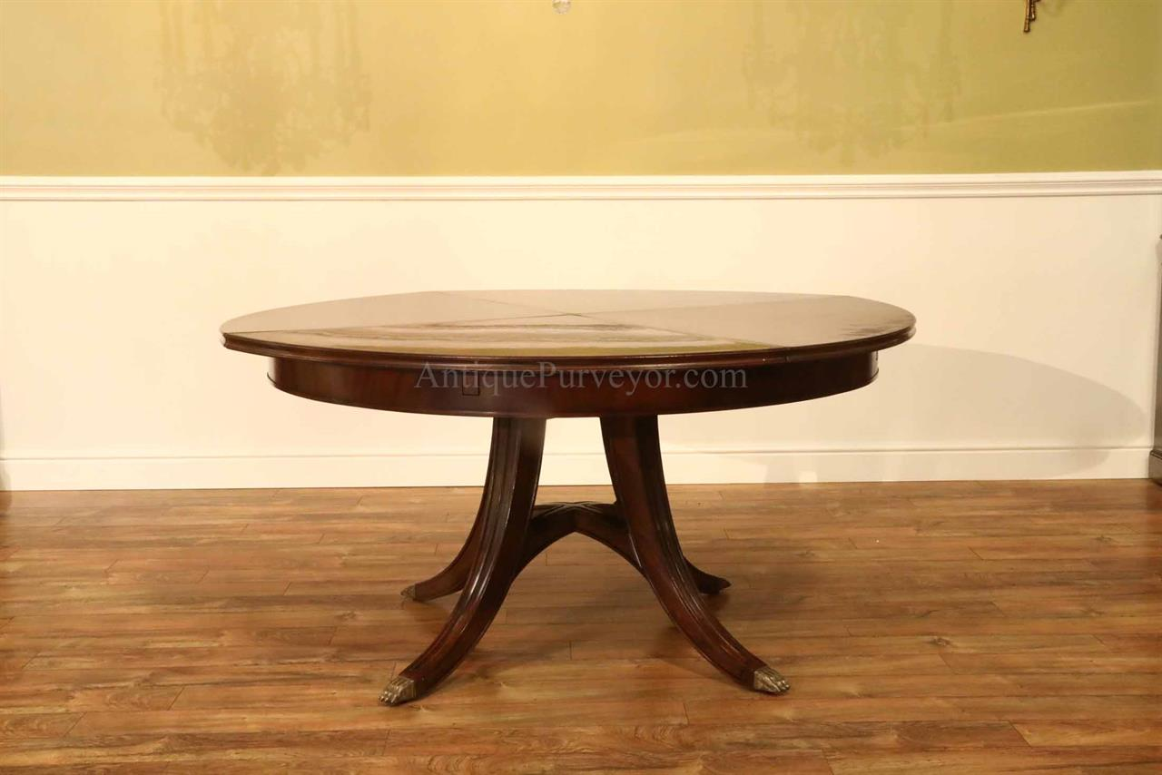 59 74 Round Mahogany Dining Table With Hidden Leaves