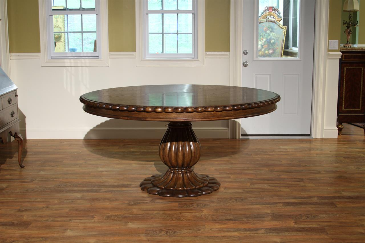 Round Oak Pedestal Table for Kitchen or Dining Room