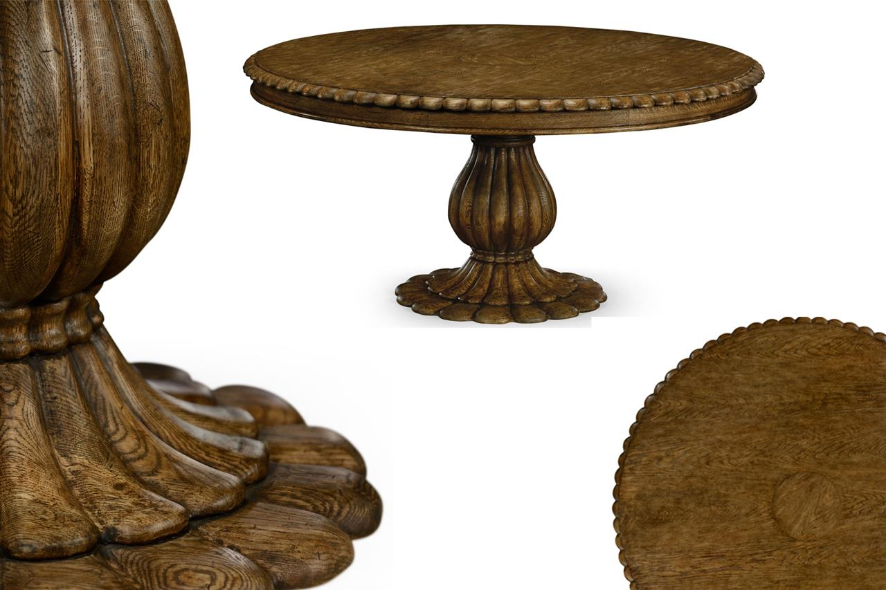 Round Solid Oak Designer Pedestal Table/ Country Casual Tropical
