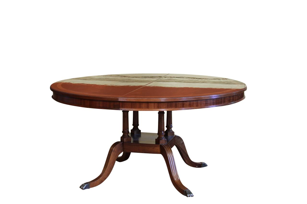 Round to oval mahogany dining table with leaf 60 round for Round pedestal table with leaf