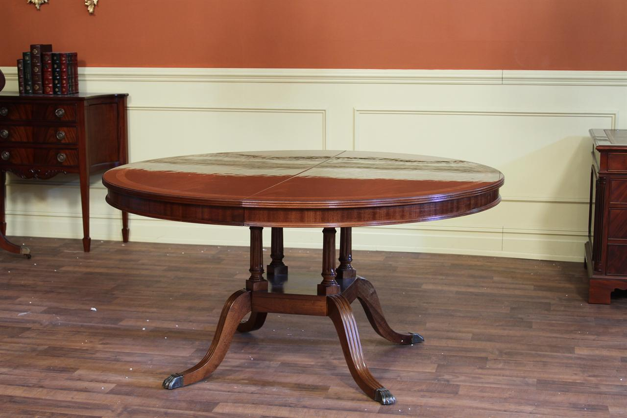 60 high end round to oval mahogany dining room table with for Round dining room tables