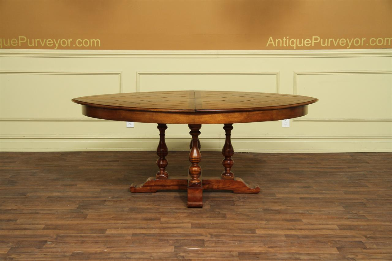 Large Oval Solid Walnut Dining Table With Hidden Leaves