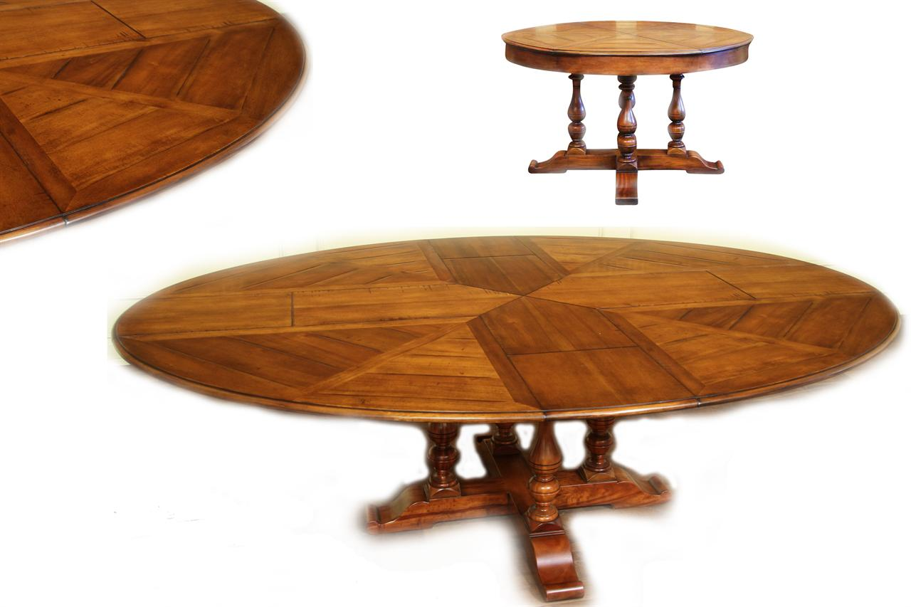 Solid Walnut Round To Oval Dining Table With Self Storing Leaves