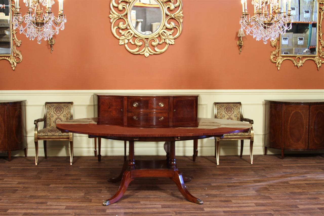 Round to oval mahogany dining table high end designer ebay