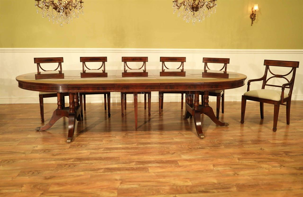 Round Mahogany Dining Table Opens To 10 Feet And Seats 12 People