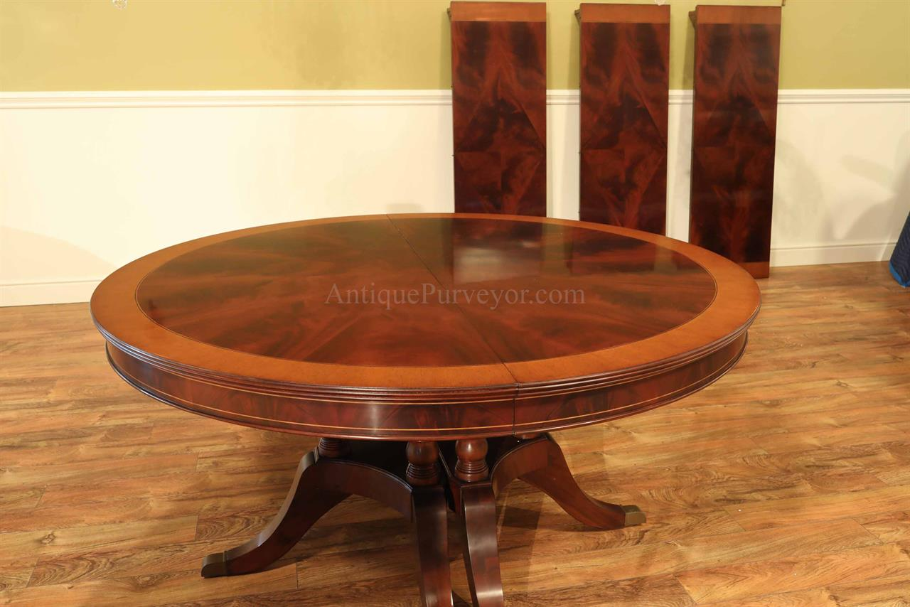 large traditional round mahogany dining table for 6 to 12 people. Black Bedroom Furniture Sets. Home Design Ideas