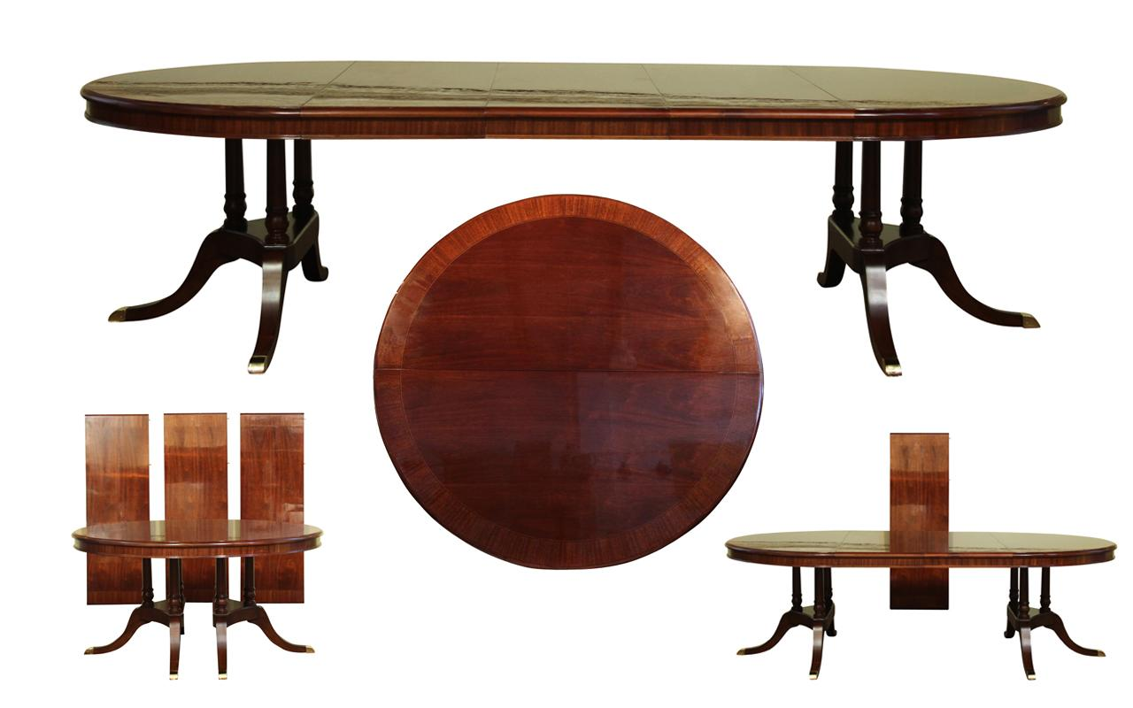 round to oval mahogany dining table with leaves sits 12 large round