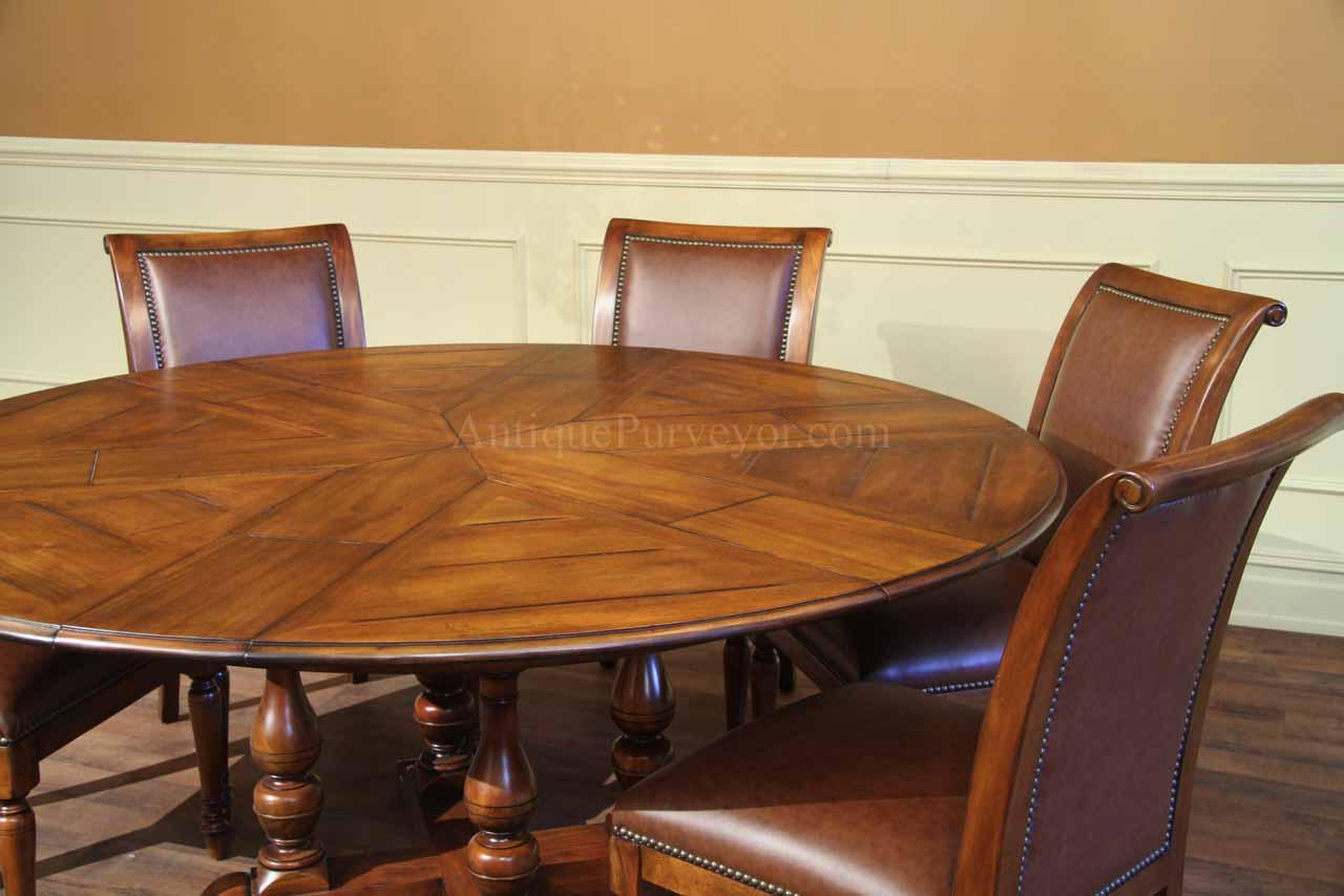 Round dining table with hidden leaves solid walnut for Solid wood round tables dining