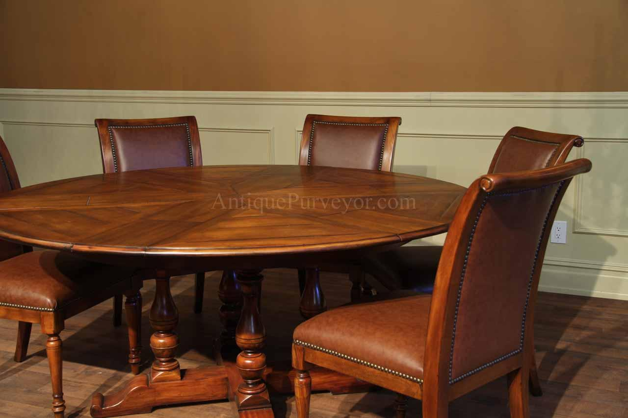 Round Solid Walnut Jupe Dining Table With Hidden Leaves 70 Inch Round