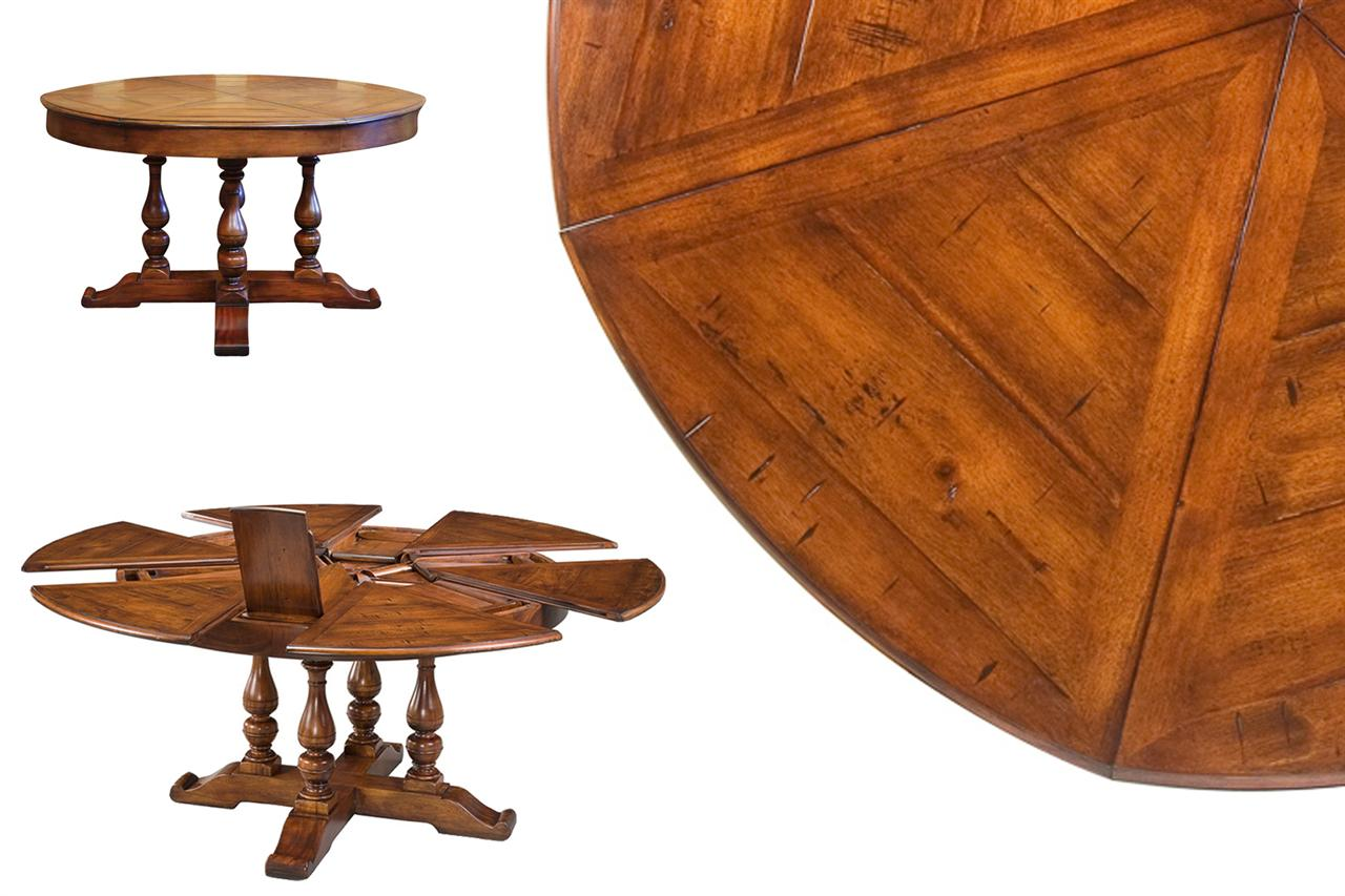 Round dining table with hidden leaves solid walnut for Dining room tables with leaves