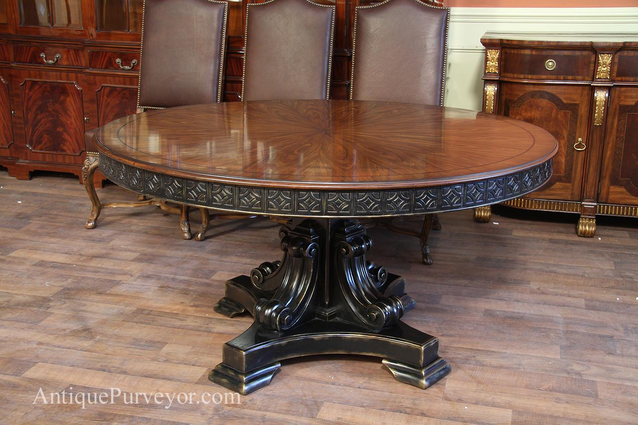 Antique Reproduction 60 Inch Round Walnut Finished Table With Black And Gold Accents