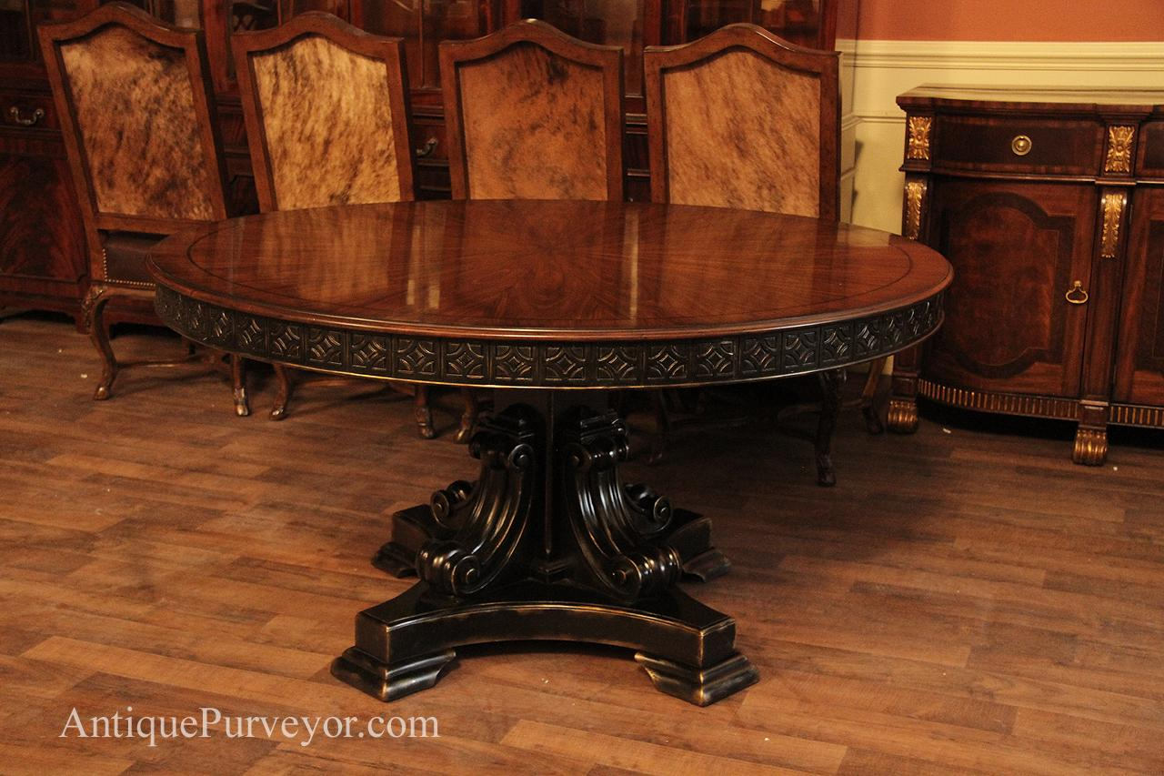 60 Inch Round Walnut Pedestal Dining Table With Black And