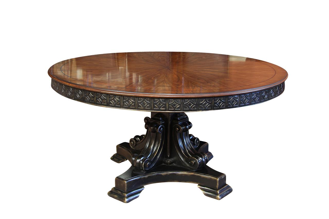 60 inch round walnut pedestal dining table w black and gold for Black dining table