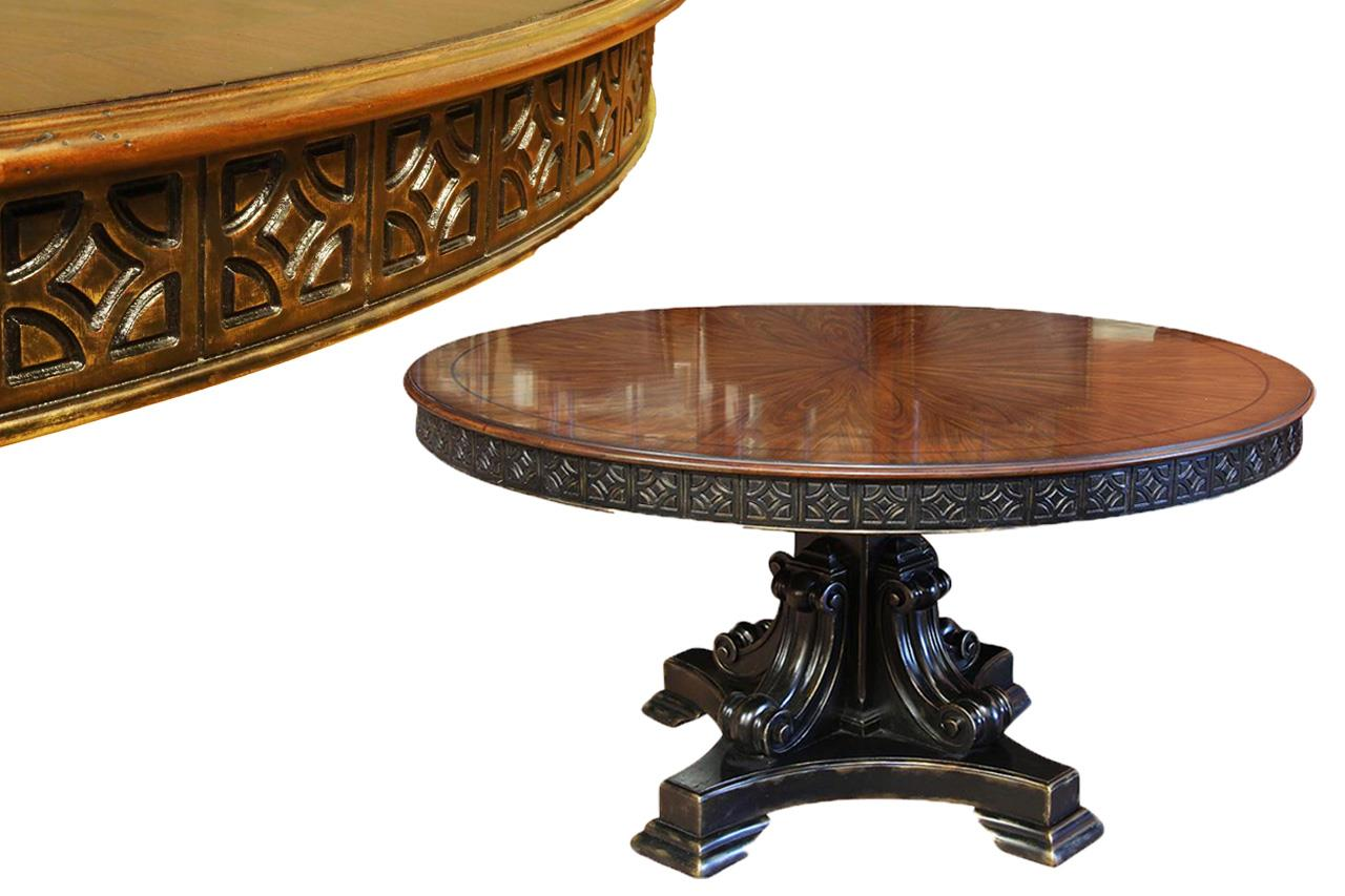60 inch round walnut pedestal dining table w black and gold for Pedestal table
