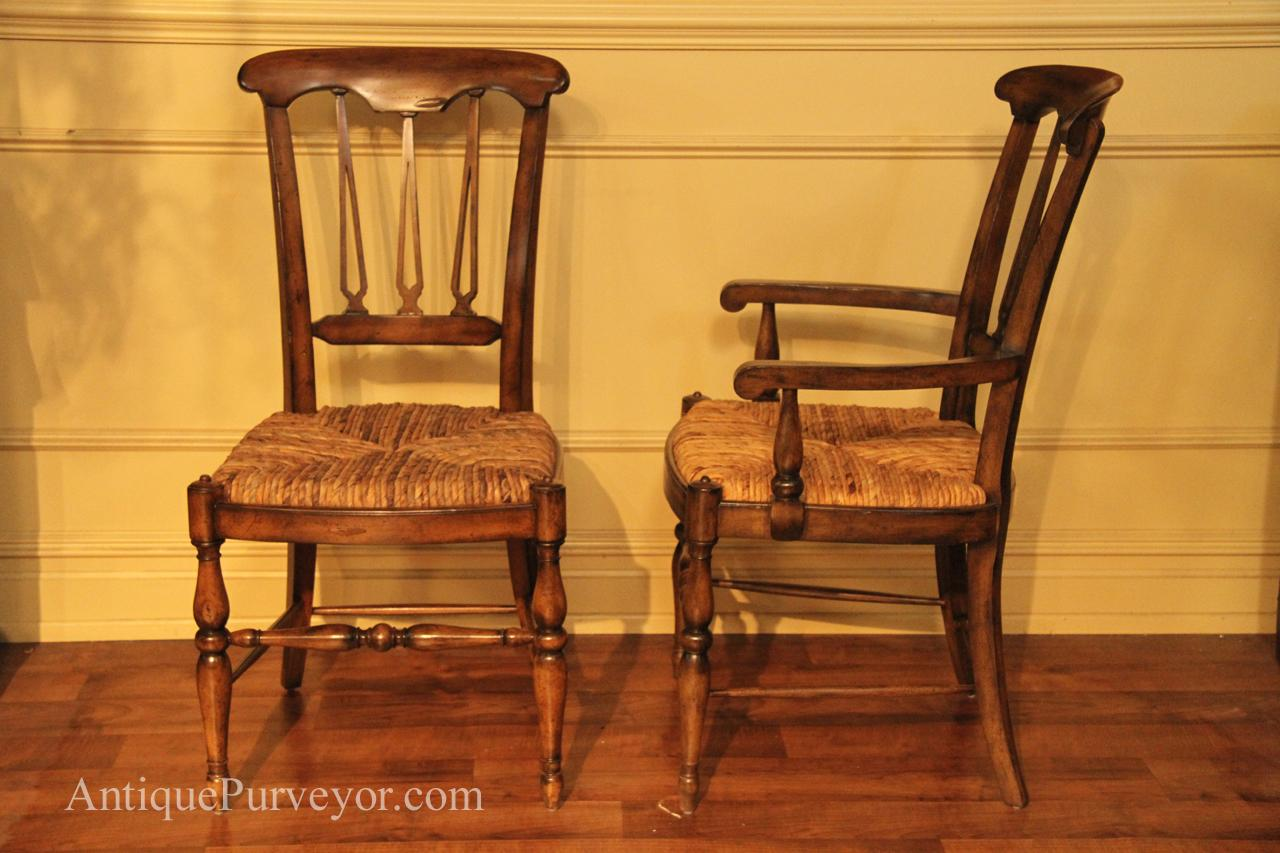 Country Spindle Back Chairs With Rush Seat For Rustic Dining - Distressed chairs
