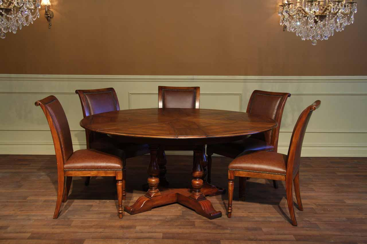 Extra Large Solid Walnut Expandable Round Jupe Dining Table Seats 12