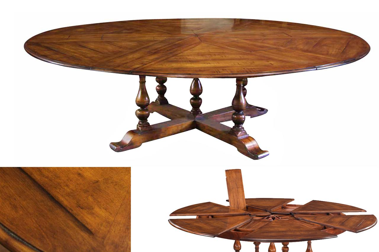 Extra Large Solid Walnut Expandable Round Dining Table With Self Storing  Leaves Part 78