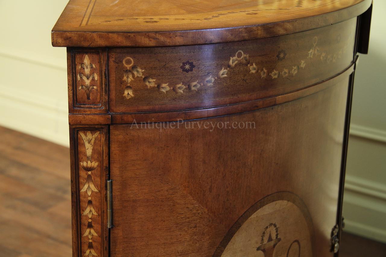 Antique Reproduction Adams Style Inlaid Satinwood Demilune