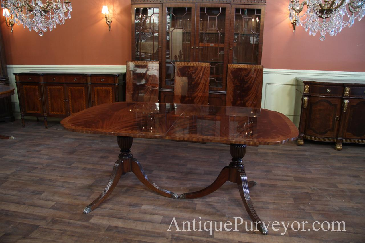 scallop corner double pedestal inlaid mahogany dining room table