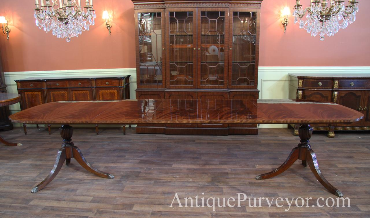 Double Pedestal Dining Room Table With Scallop Corner And Duncan Phyfe  Pedestals