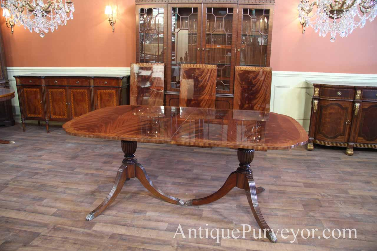 Scallop Corner Double Pedestal Inlaid Mahogany Dining Room Table With Leaves Ebay