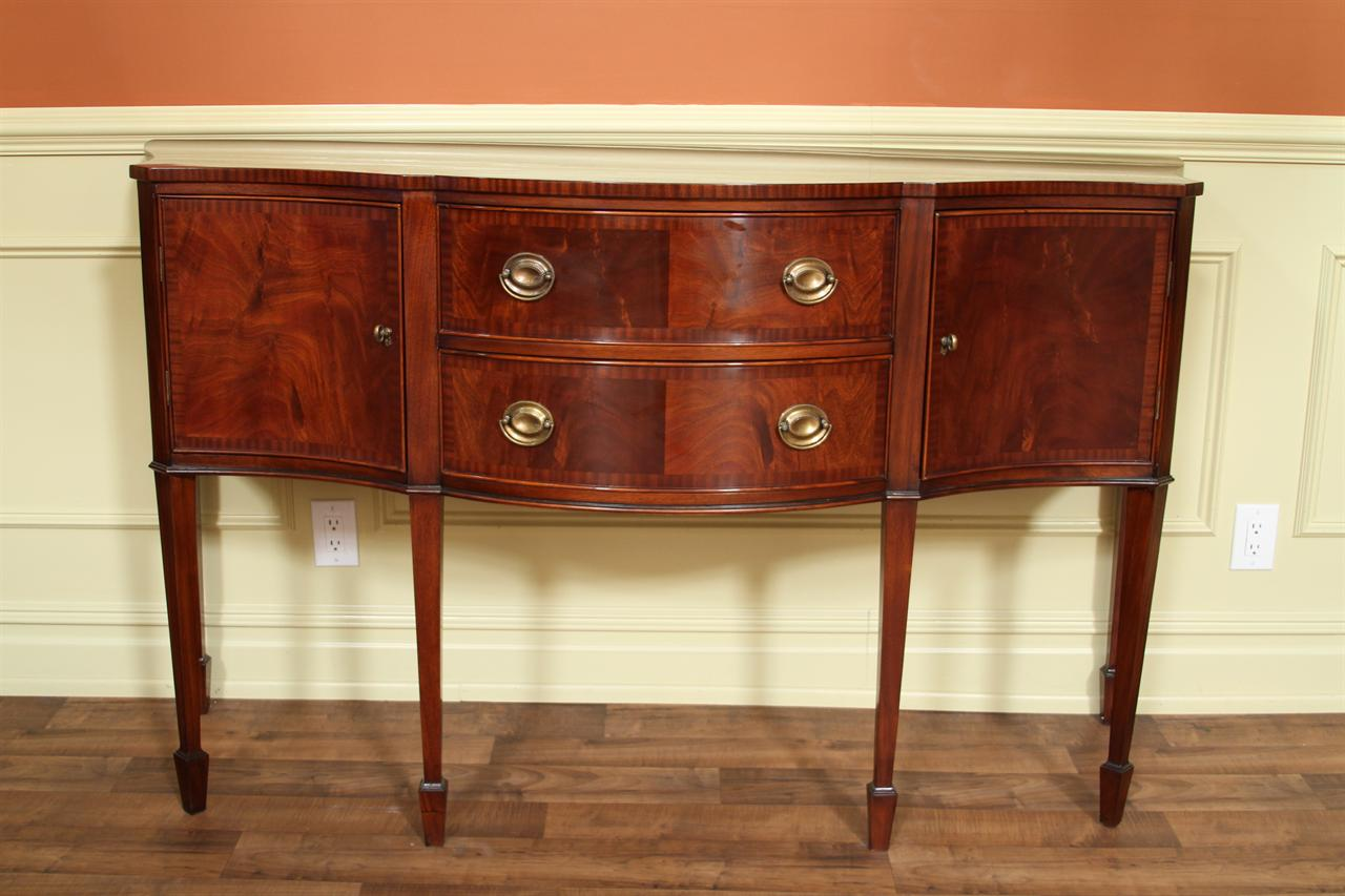 Serpentine mahogany sideboard banded sideboard for Traditional dining room sideboard