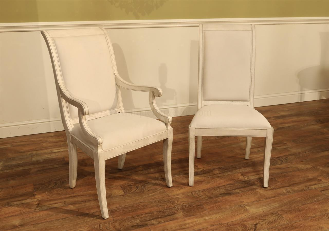 Set of 10 White Solid Oak Transitional Upholstered Dining Chiars