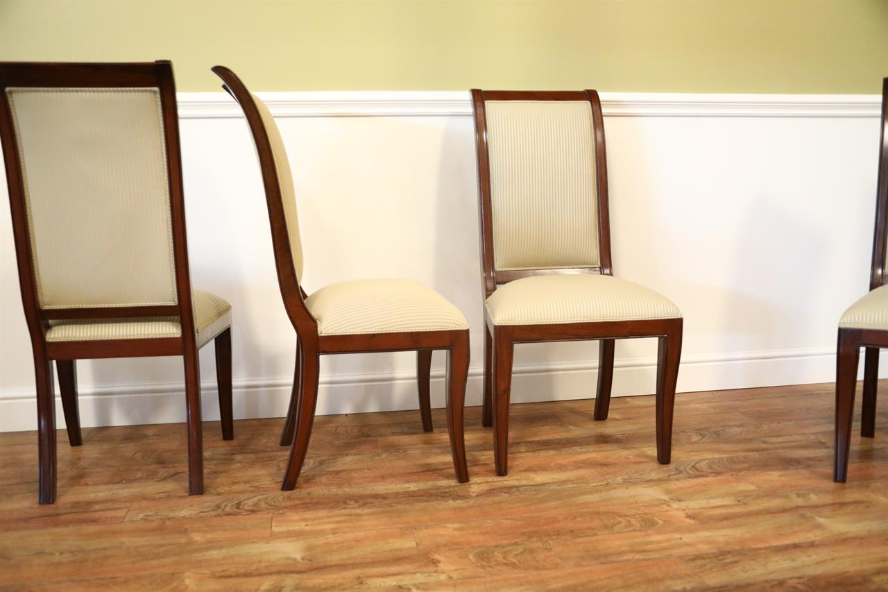 Set Of 8 Solid Mahogany Transitional Dining Room Chairs Sale