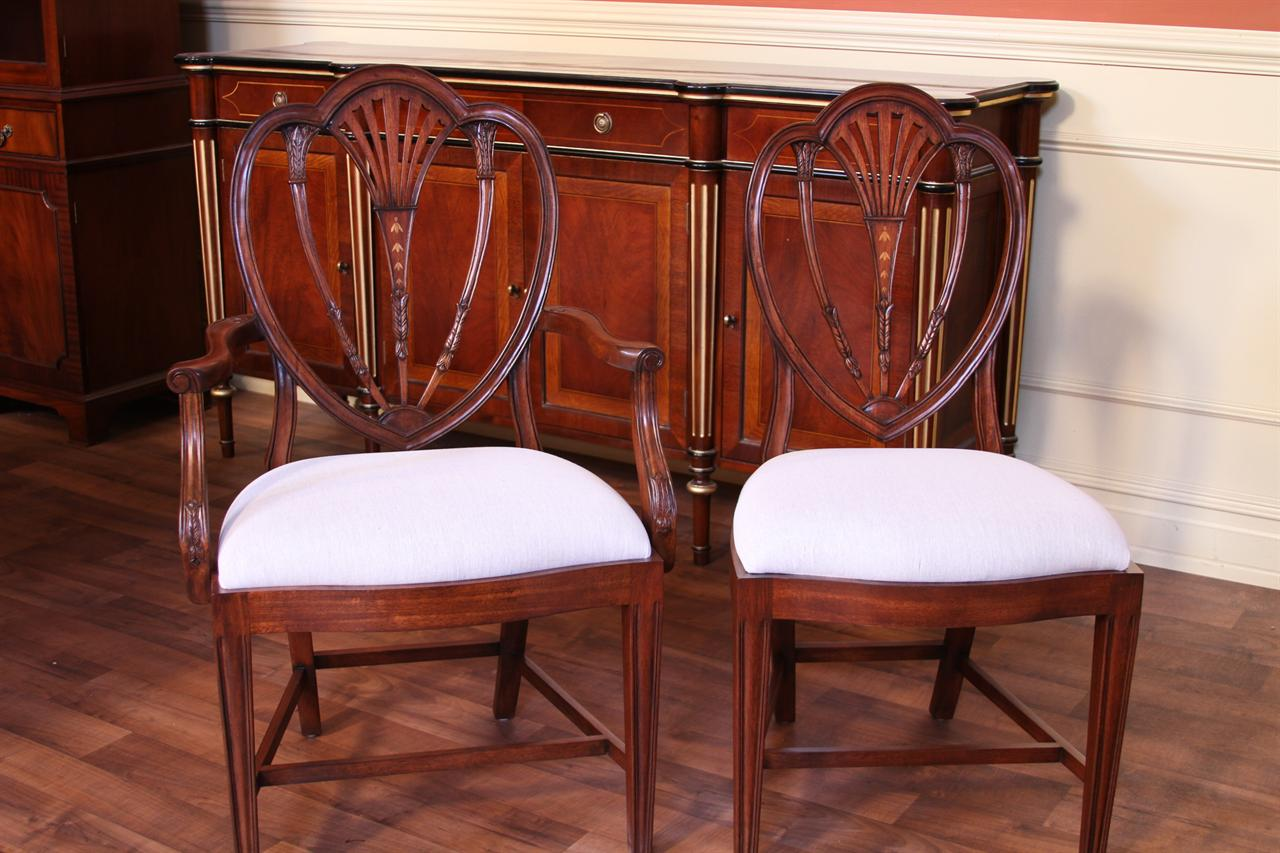 Sheraton style Inlaid Dining chairs for a Formal dining room. Hepplewhite Chairs  High End Chairs  Tall Back Chairs