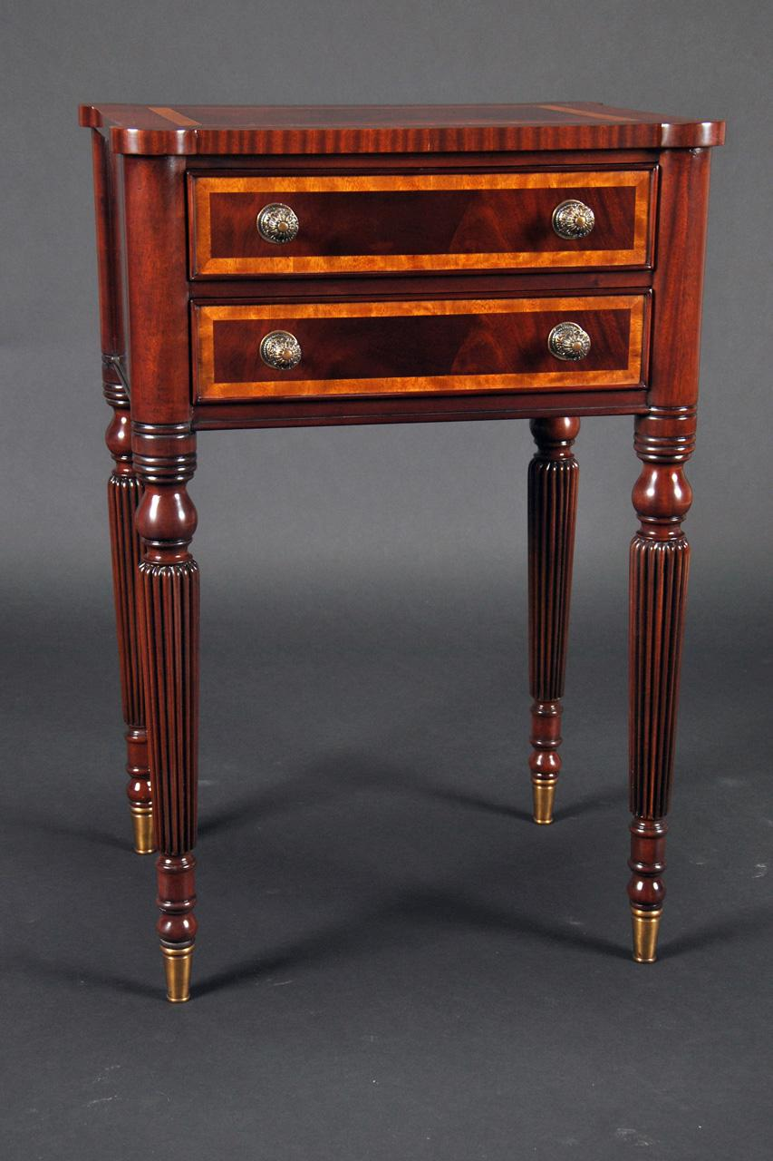 Mahogany Sheraton Style Accent Table With Brass Feet