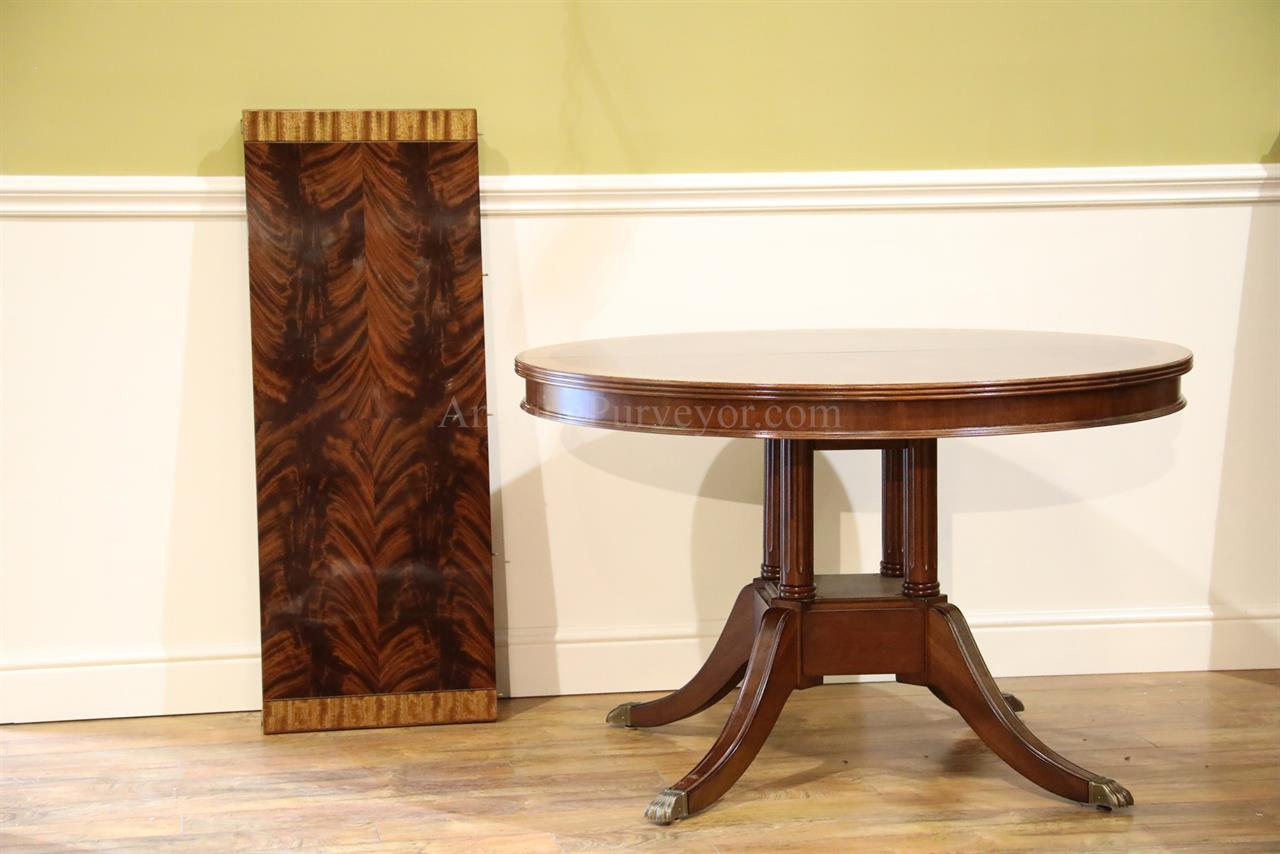 Small 48 in round mahogany dining table with leaf flame or for Small round dining table with leaf