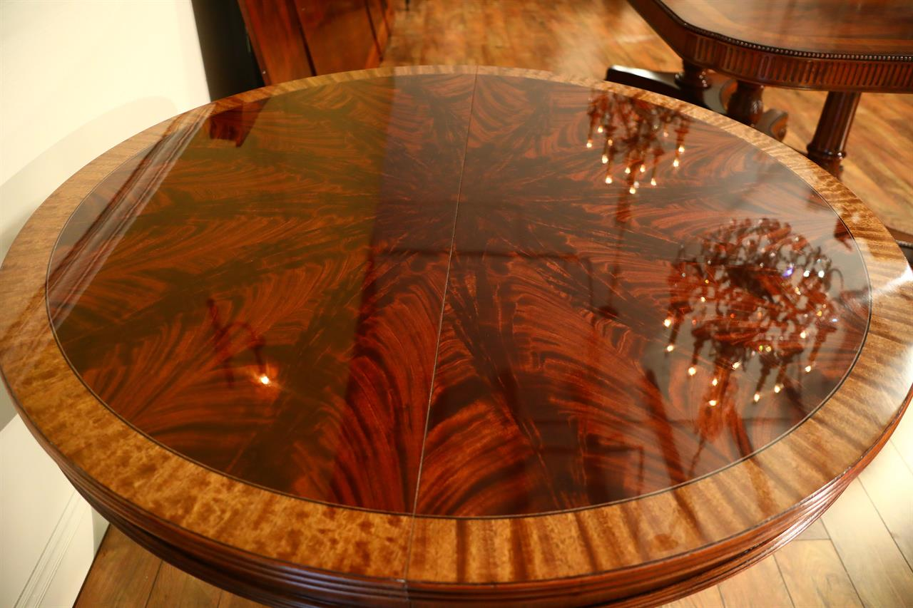 Pie Cut Flame Mahogany Satinwood Banded Dining Table