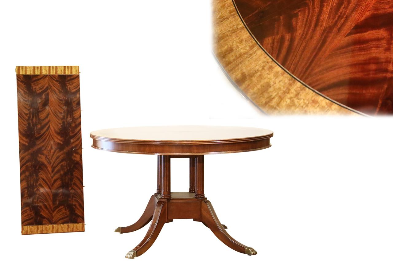 Small 48 inch round mahogany pedestal dining table with leaf 48 round table seats how many