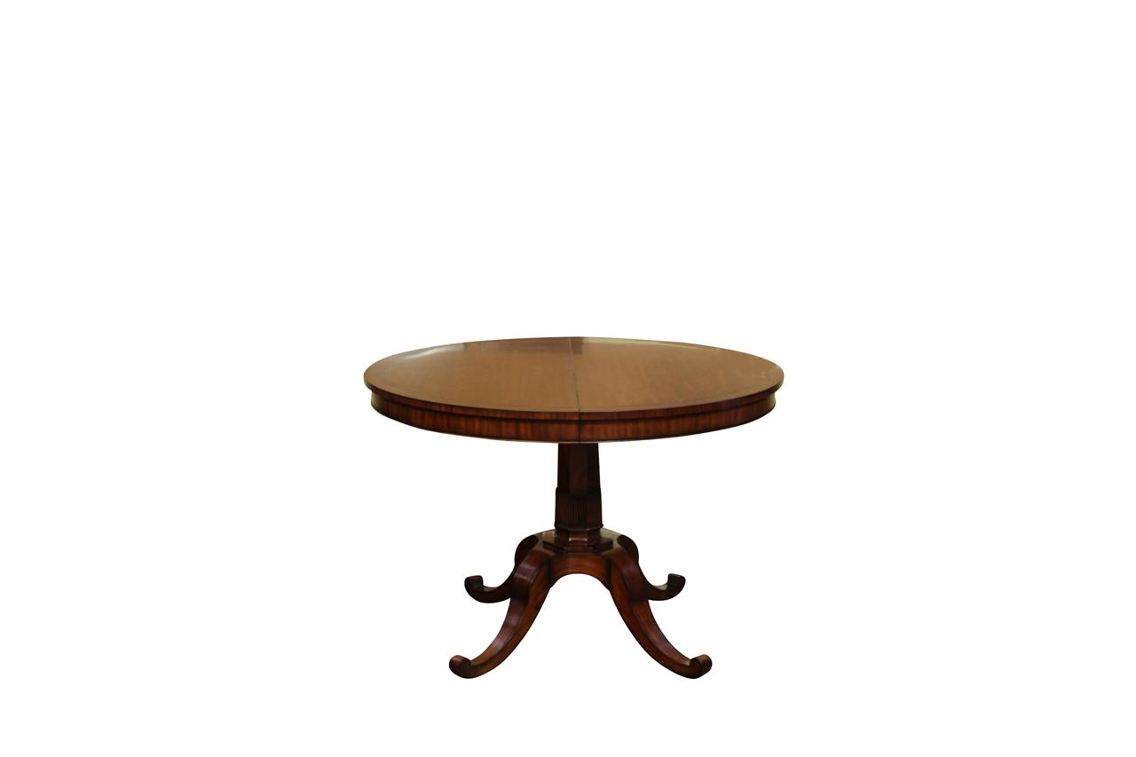 Small 44 inch expandable round dining table with leaves for Dining table with two leaves