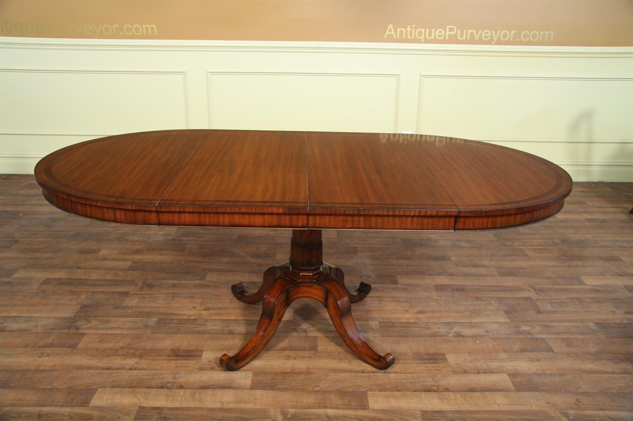 small 44 inch expandable round dining table with leaves mahogany