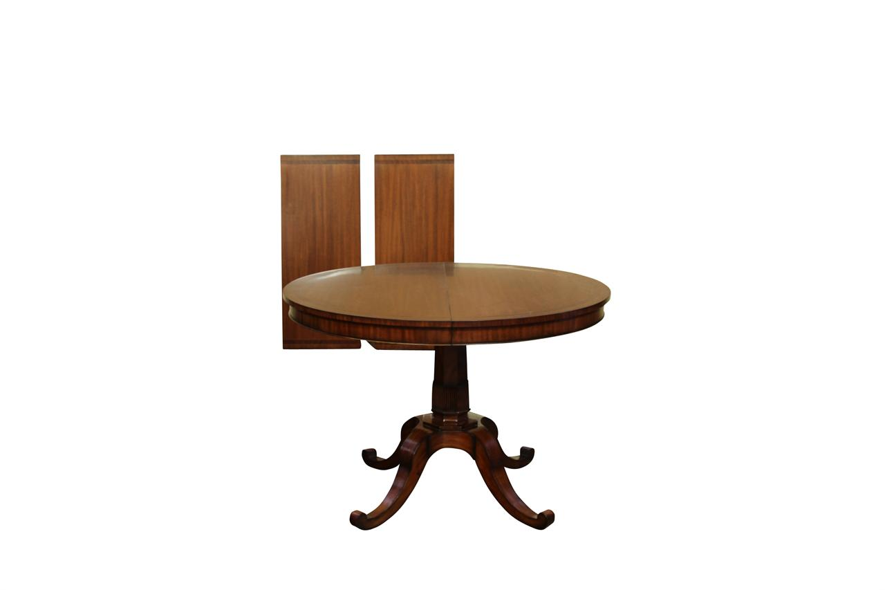 Small 44 inch expandable round dining table with leaves mahogany Small dining table