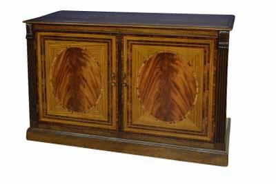 American Made Small Two Door Mahogany Buffet with Carvings
