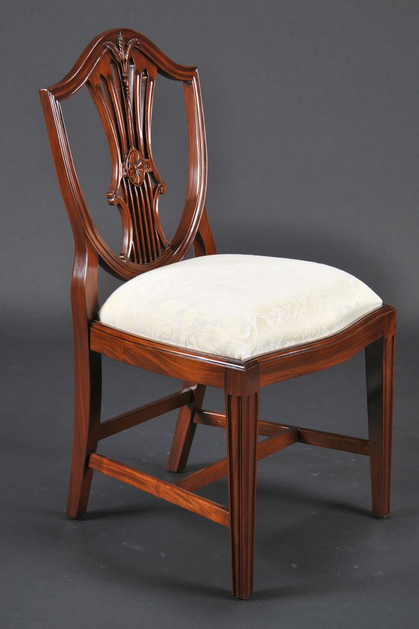 Small vintage size shield back dining room chairs solid mahogany - Retro dining room chairs ...