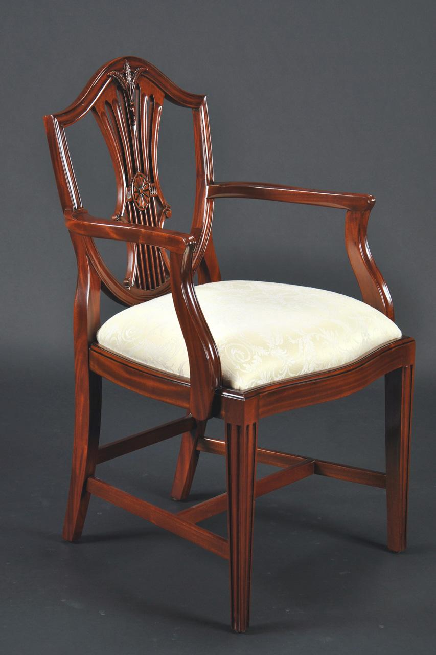 small vintage size shield back dining room chairs in solid mahogany