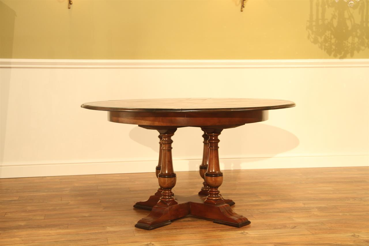 Small walnut jupe table 45 to 56 inch round to round for Small round dining table with leaf